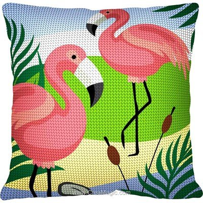 Kit coussin flamants roses et roseaux de Margot au demi point