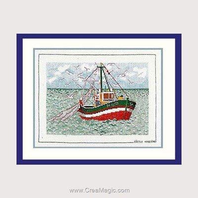 Broderie de Le Bonheur Des Dames au point de croix bateau de pêche et mouettes