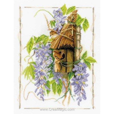 Broderie au point de croix point compté Lanarte wisteria toile aida