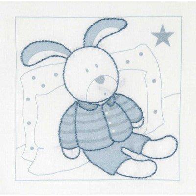 Kit broderie imprimée lapin au repos bleu - DMC