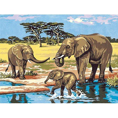 Canevas SEG eléphants au bain