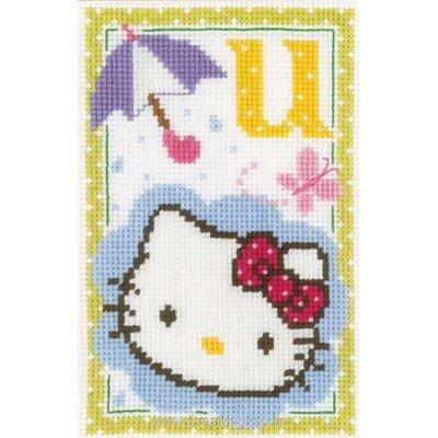 Hello kitty lettre u kit à broder au point de croix - Vervaco