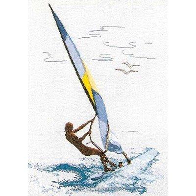 Planche à voile sur aida kit broderie point compté - Thea Gouverneur