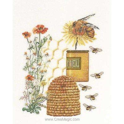 Kit à broder point de croix le miel et les abeilles sur lin de Thea Gouverneur
