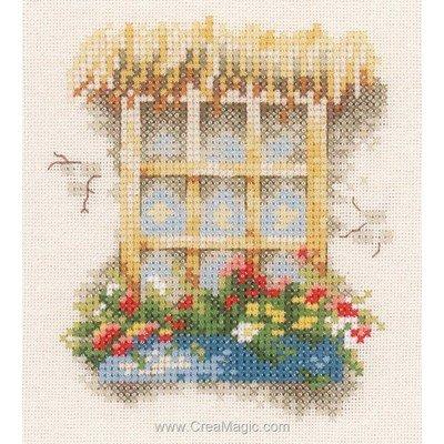 Fenêtre et fleurs kit broderie - Lanarte