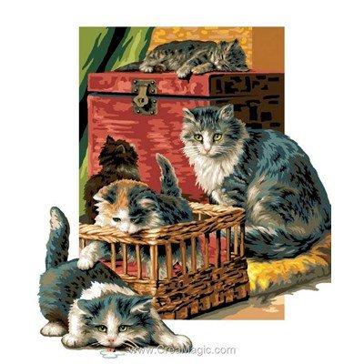 Le clan des chats canevas - Luc Création
