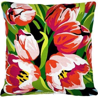 Coussin les tulipes endormies au demi point de SEG