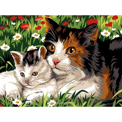 Le chat et son bébé canevas - SEG