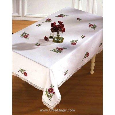Serviette de table imprimée clara en broderie traditionnelle - Montée dentelle - BrodArt