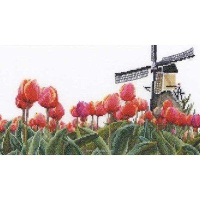 Kit à broder Thea Gouverneur bulbfield tulips sur aida