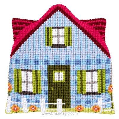 Kit coussin Vervaco forme maison bleue au point de croix