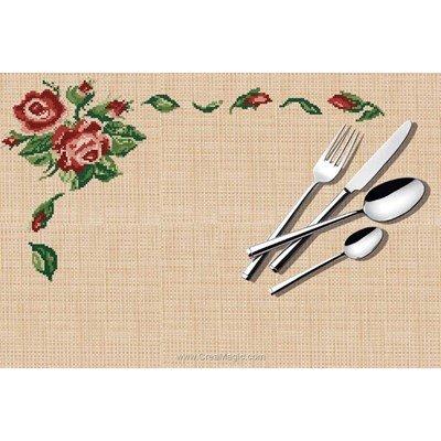 Set de table à broder au point de croix compte rose et pétales de Luc Création