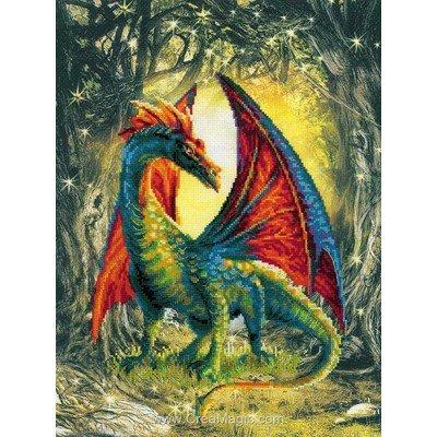 Modèle broderie point de croix dragon de la forêt - RIOLIS
