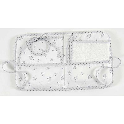 Pochette cadeau dmc : bavoir naissance + serviette inclus baby star - gris à broder