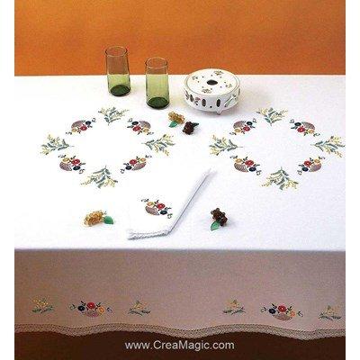Nappe imprimée en broderie traditionnelle paniers fleuris - Bordée dentelle de Luc Création
