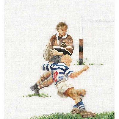 Kit à broder au point de croix rugby sur lin de Thea Gouverneur