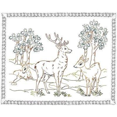 Kit napperon Luc Création en broderie traditionnelle les cerfs DK6008