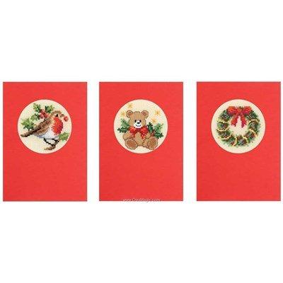 Carte à broder lot de 3 fête de noel avec enveloppes - Vervaco