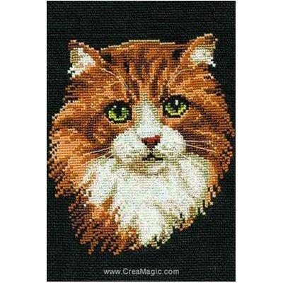 Broderie point de croix RIOLIS chat roux