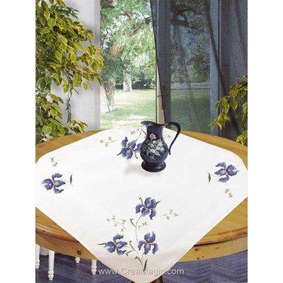 Kit nappe au point de croix imprimé aux iris bleues d'Avila