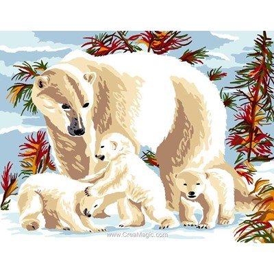 Canevas ours blanc en famille - Luc Création
