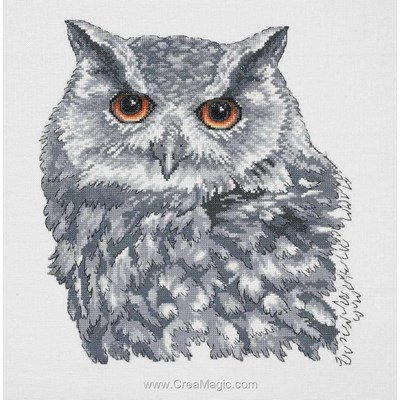 Owl in grey sur lin kit tableau point de croix - Permin