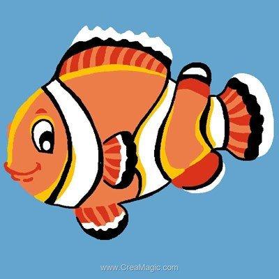 Kit canevas avec fils poisson clown - Luc Création