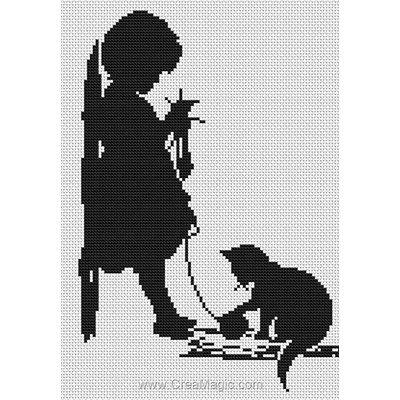 Petite tricoteuse noir et blanc kit broderie point de croix - Luca-S