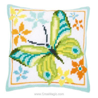 Coussin Vervaco au point de croix papillon light