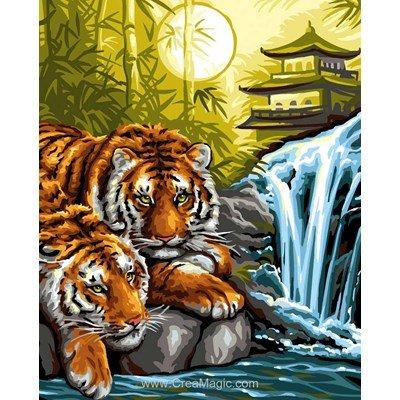Canevas tigres à la pagode - Rafael Angelot