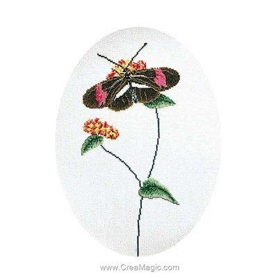 Butterfly brown-pink sur lin kit broderie de Thea Gouverneur au point de croix