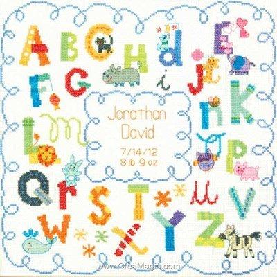 Kit broderie tableau prénom l'alphabet coloré - Dimensions