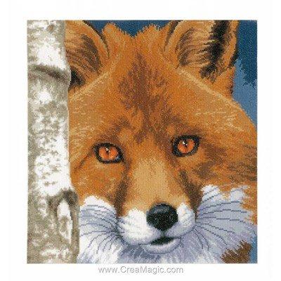 Kit à broder au point de croix renard aux yeux roux de Lanarte
