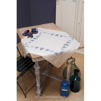 Kit nappe lavande bouquet ou pot au point de croix imprimé de Vervaco