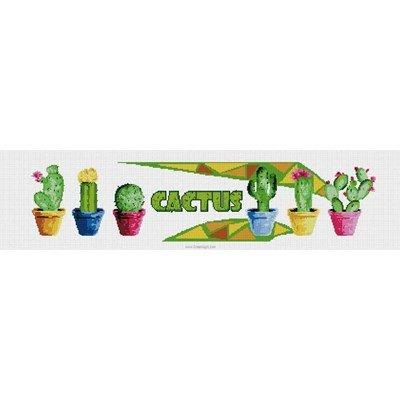 Tableau broderie point de croix cactus en pots de Luc Création