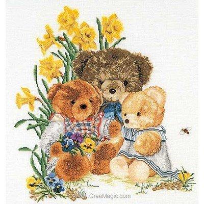 Broderie modele point de croix teddy bears sur lin - Thea Gouverneur