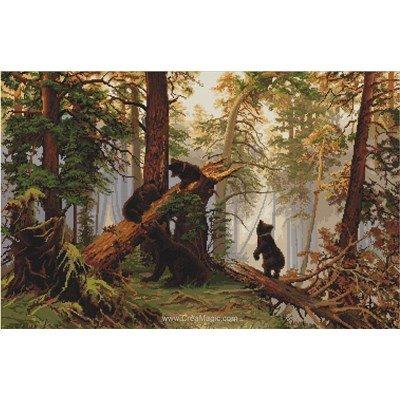 Broder en point de croix Luca-S matinée dans une forêt de pins d'après i.i. Shishkin