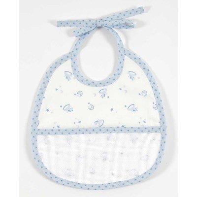 Bavoir baby star 3 mois- bleu à broder de DMC