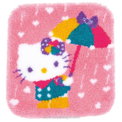 Kit tapis point noué hello kitty et le parapluie - Vervaco