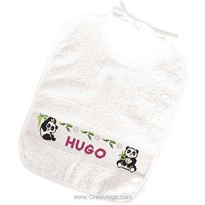 Kit bavoir à broder 6 mois pandas de Princesse