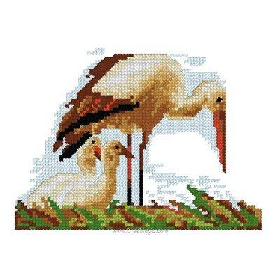 Mini kit de point de croix Luc Création nid de cigogne