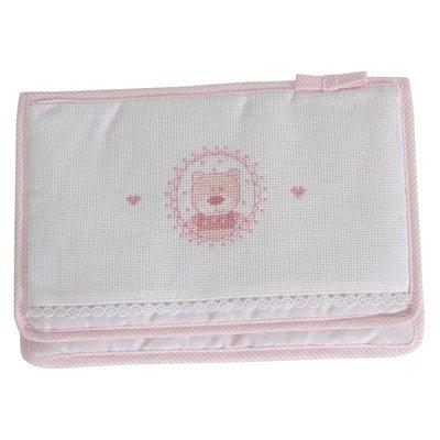 Protège carnet de santé naissance à broder mon premier bonheur - rose DMC