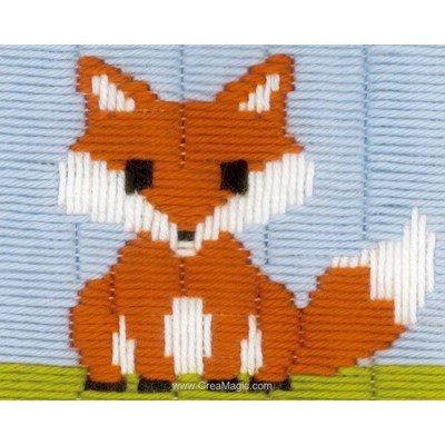 Canevas point lancé petit renard brun de Vervaco
