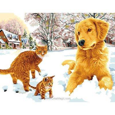 Labrador et chats canevas - Mimo Verde