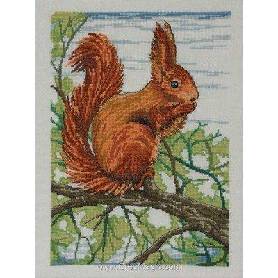 Broderie Permin squirrel sur l'arbre sur toile lin