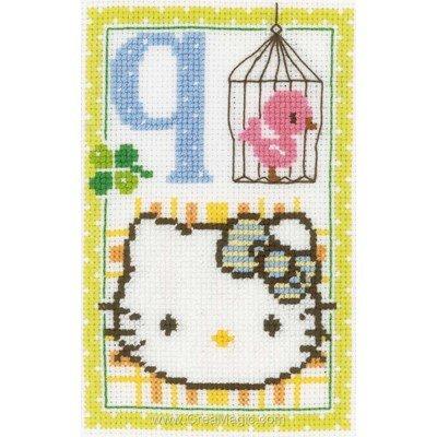 Kit à broder point de croix Vervaco hello kitty lettre q
