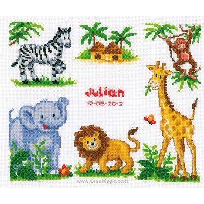 Kit broderie bébé naissance Vervaco les animaux de la jungle