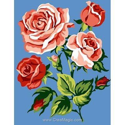 Branche aux roses kit canevas pour débutant - Margot