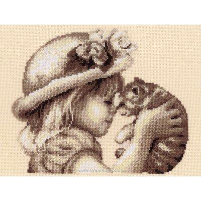 Kit tableau Vervaco point de croix fillette est son chaton