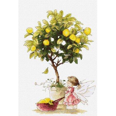 Elfe et le citronnier tableau point de croix - Luca-S